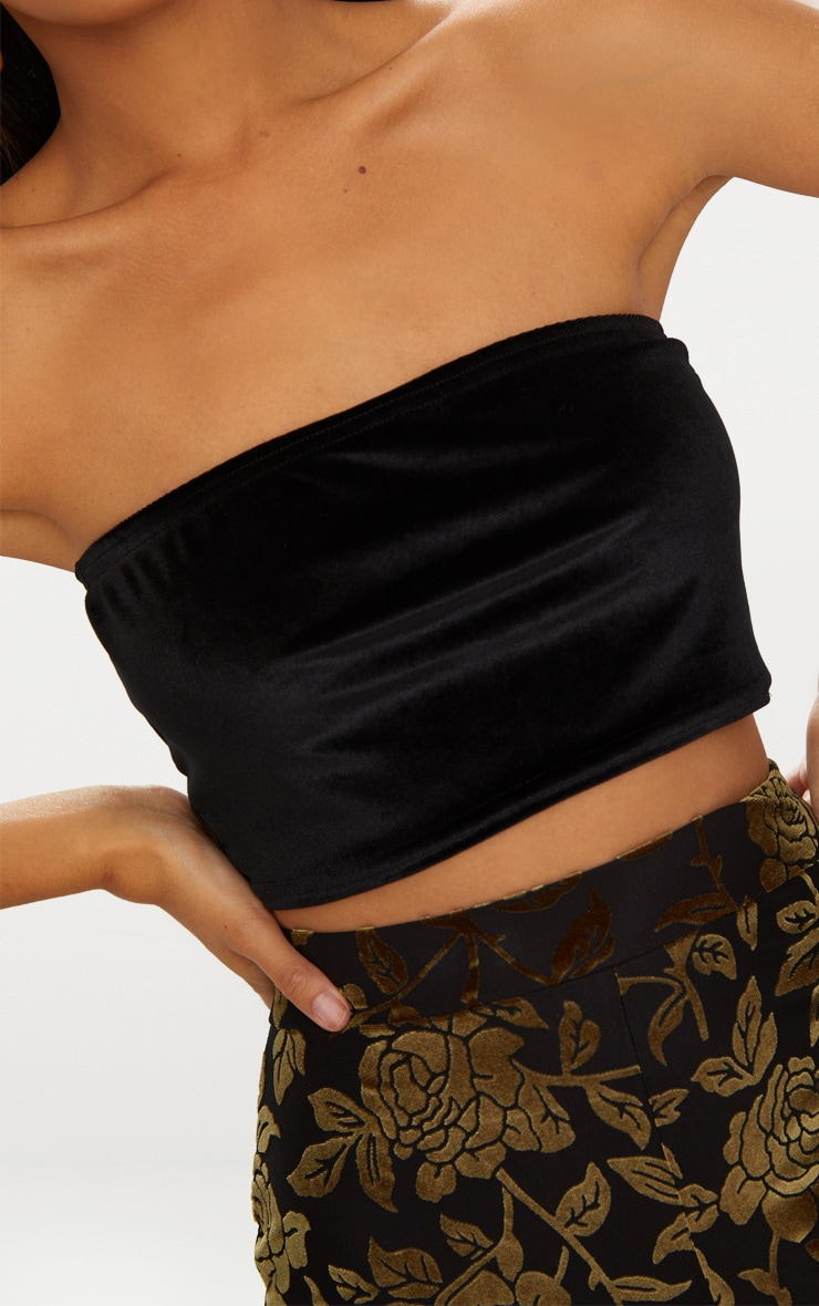 Black Velvet Bandeau Crop Top 5