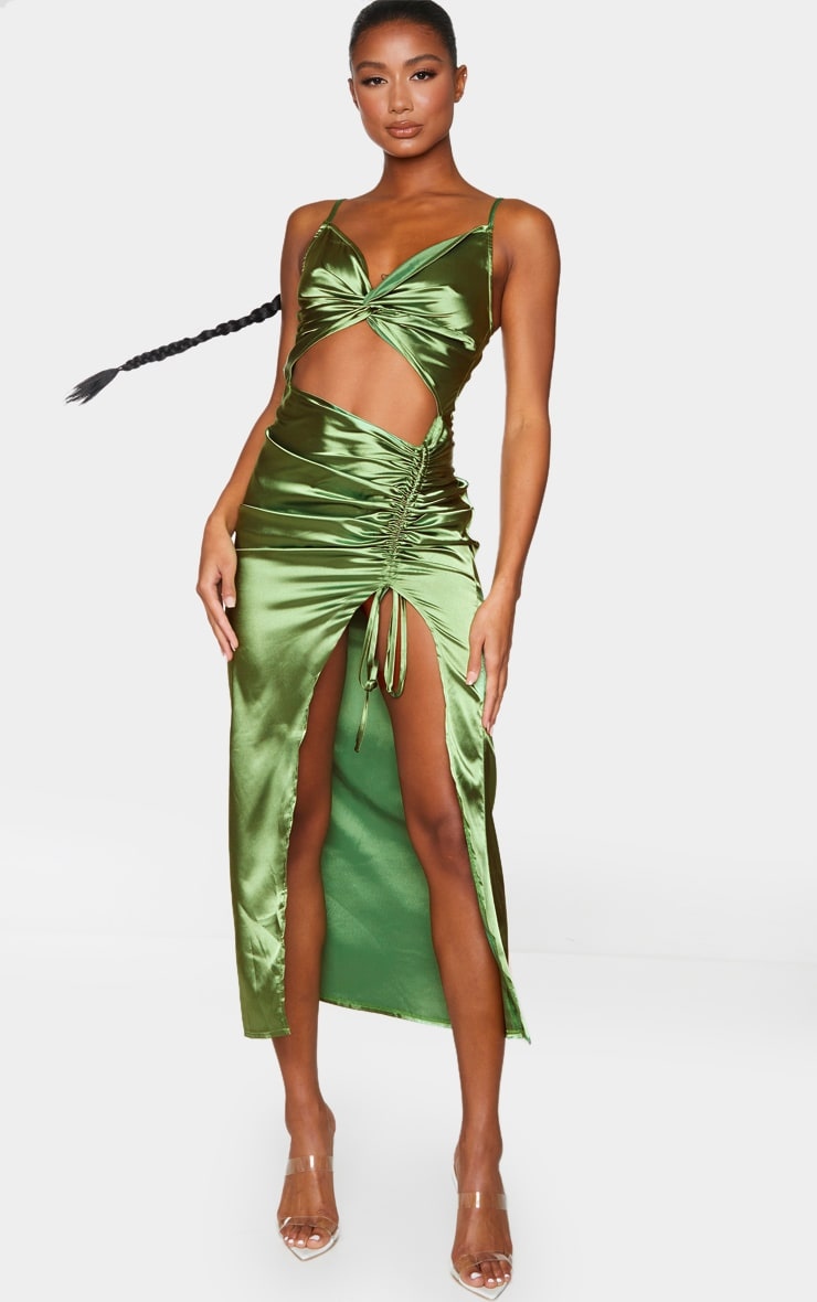 Olive Satin Twist Bust Ruched Maxi Dress 1
