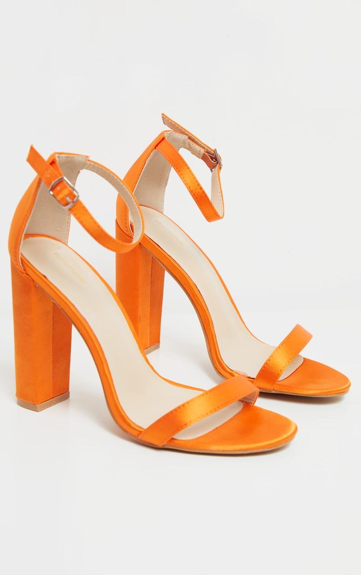 Orange Satin May Block Heel Sandal 3