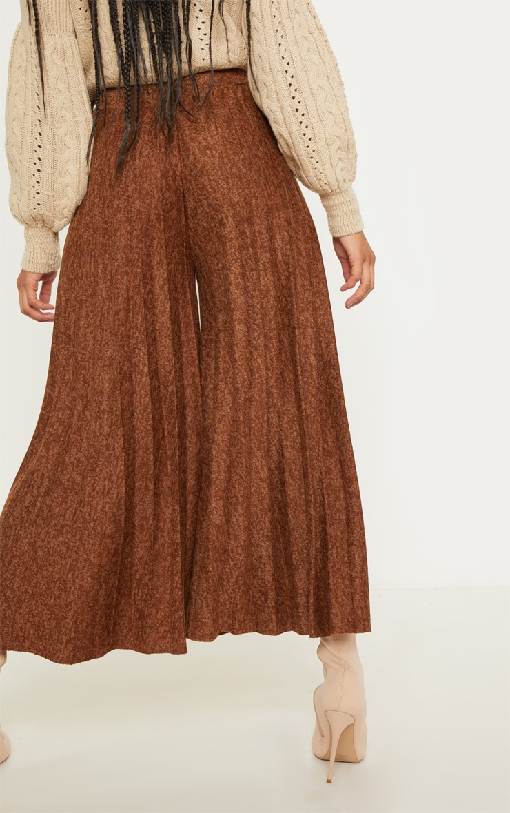 Brown High Waisted Pleated Culotte 4