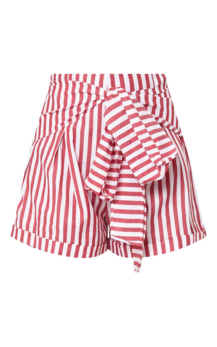 Red Tie Waist Stripe Shorts 3