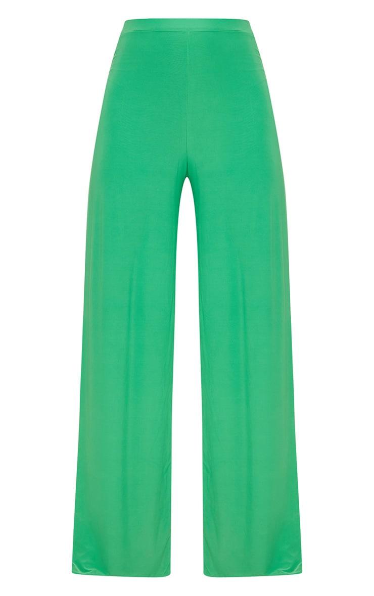 Bright Green Side Split Slinky Trousers 3