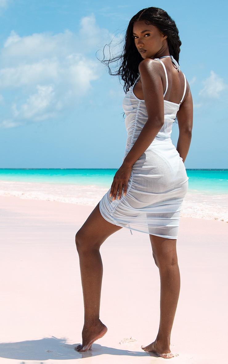 Baby Blue Ruched Chiffon Beach Dress 3