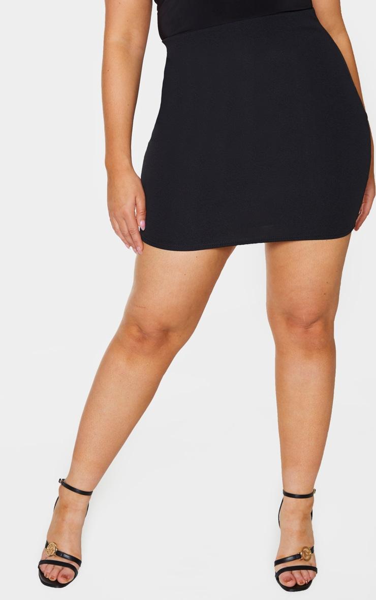 Plus Basic Black Cotton Blend Jersey Mini Skirt 2