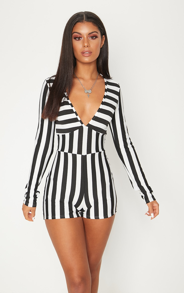 Monochrome Striped Long Sleeve Plunge Playsuit 4