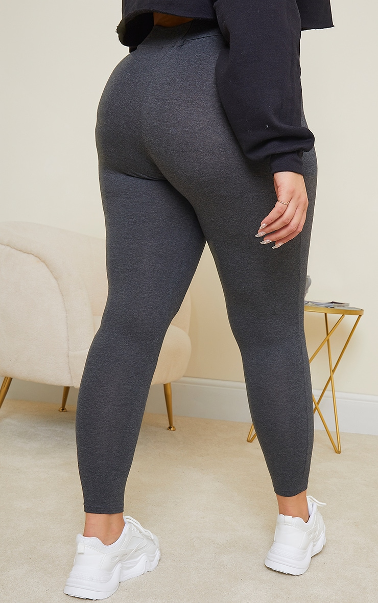 Plus Basic Charcoal Grey High Waisted Jersey Leggings 3