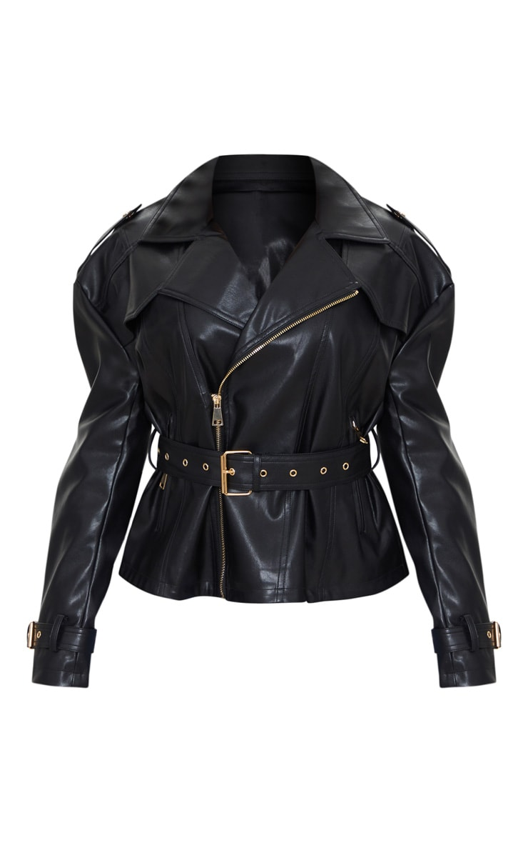 Black Faux Leather Tie Waist Biker Jacket 5