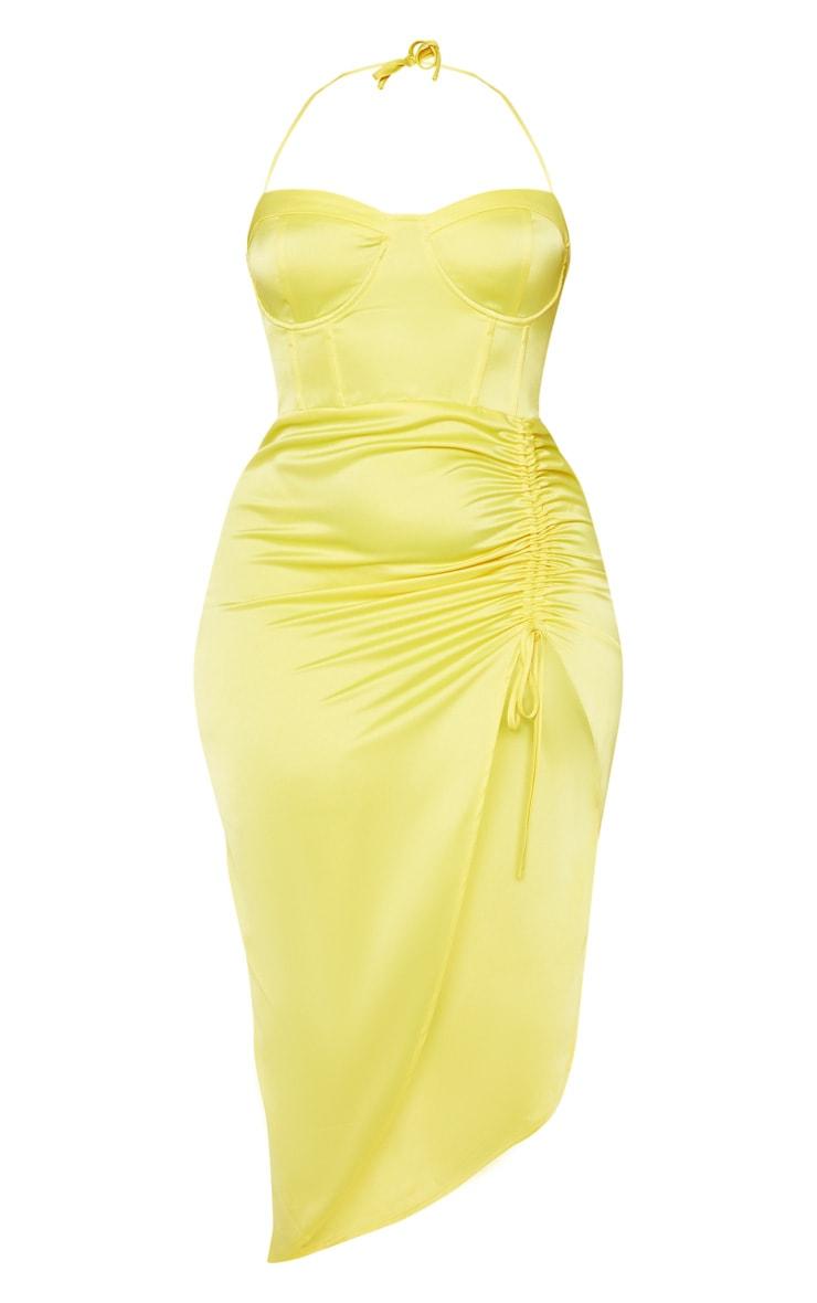 Plus Yellow Satin Corset Detail Ruched Side Midi Dress 4