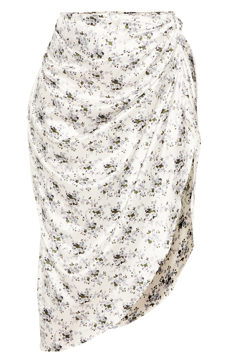 White Ditsy Floral Print Ruched Side Midi Skirt 3
