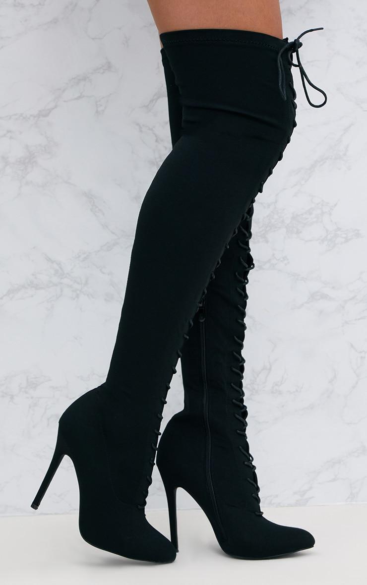 Black Thigh High Lace Up Heeled Sock Boots 1