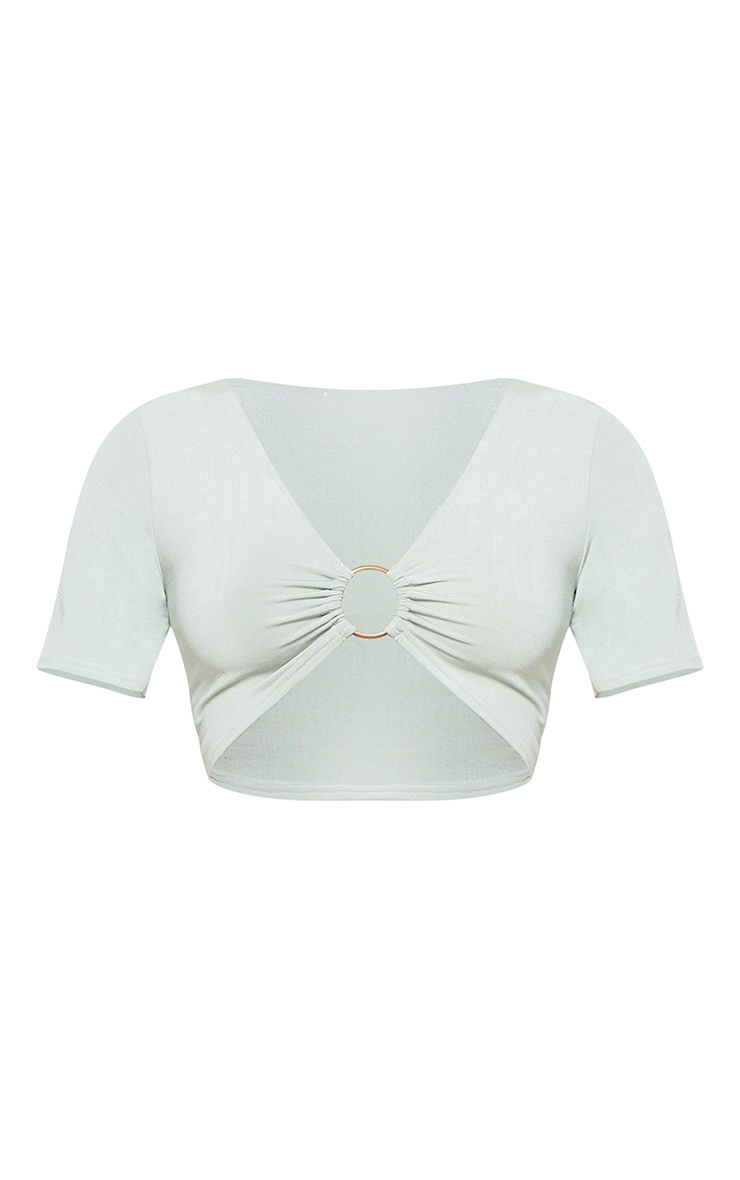 Mint Slinky Ring Detail Crop Top 3