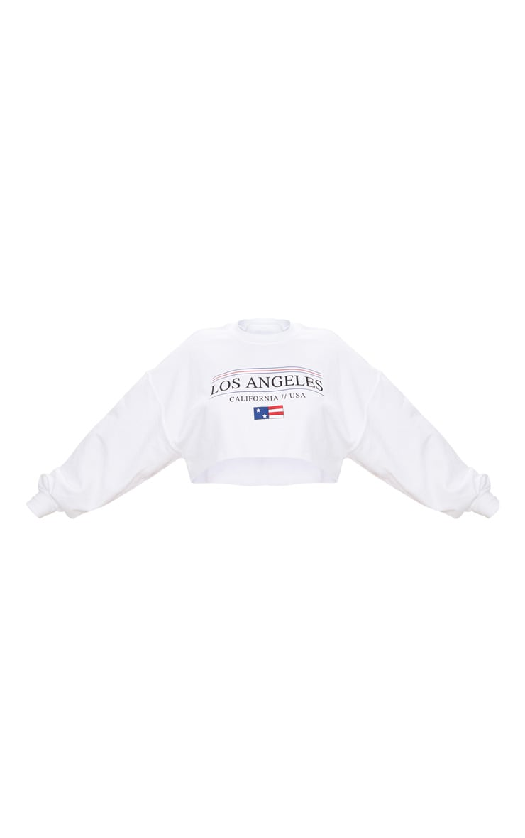 Plus White Los Angeles Extreme Cropped Sweater 3