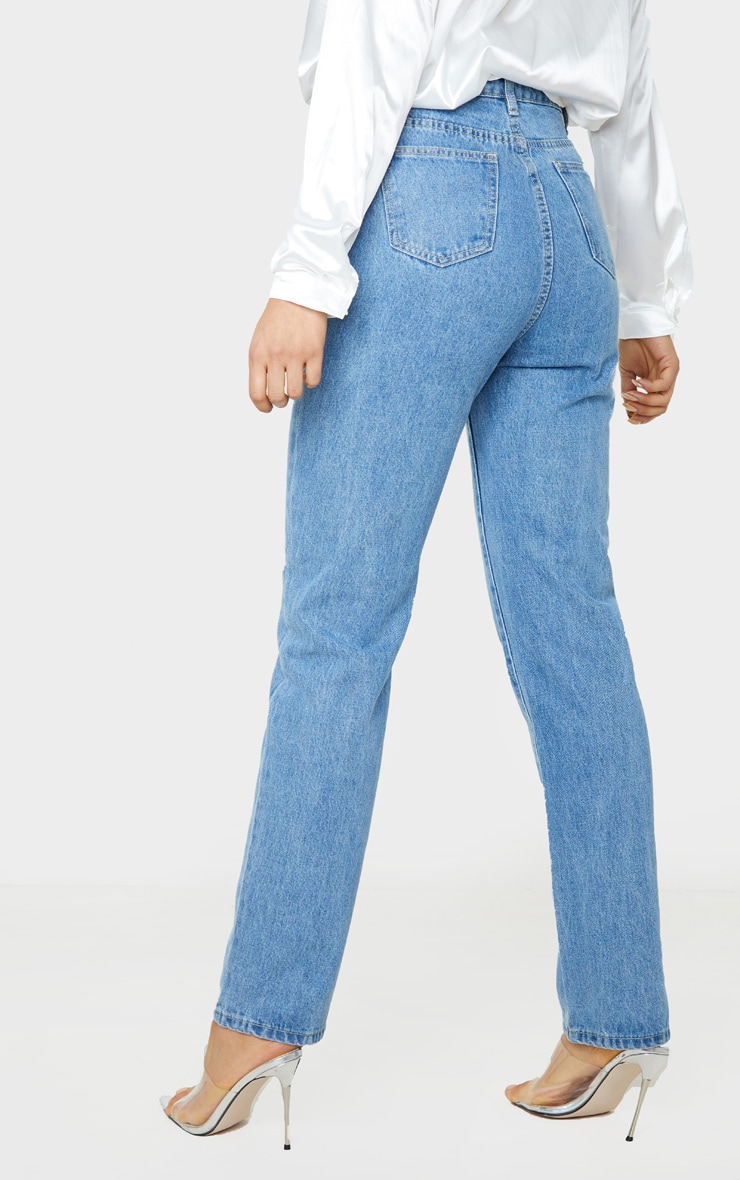 PRETTYLITTLETHING Tall Mid Blue Straight Leg Jeans 4