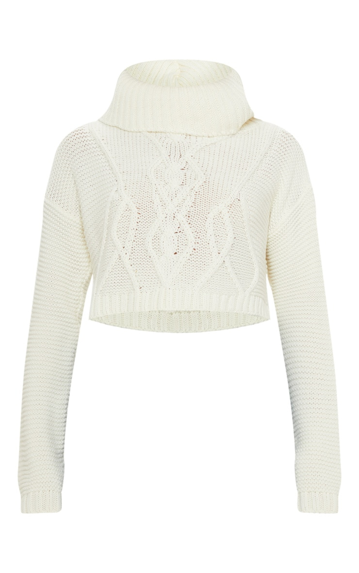 Cream High Neck Knitted Sweater  3
