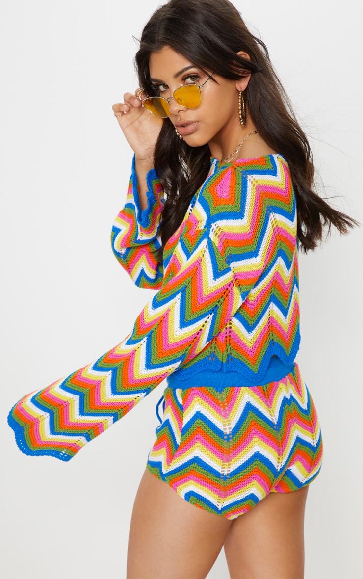 Multi Coloured Zig Zag Crochet Jumper 2
