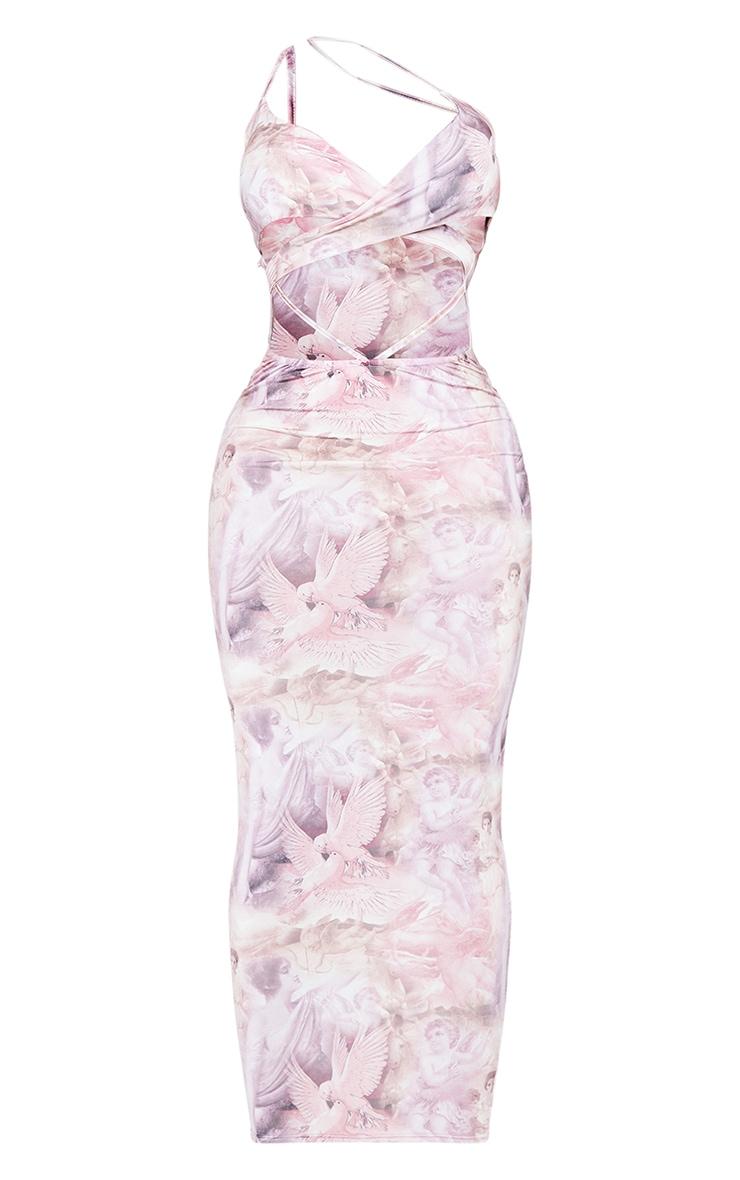 Shape Pink Renaissance Print Slinky Wrap Over Detail Midaxi Dress 5