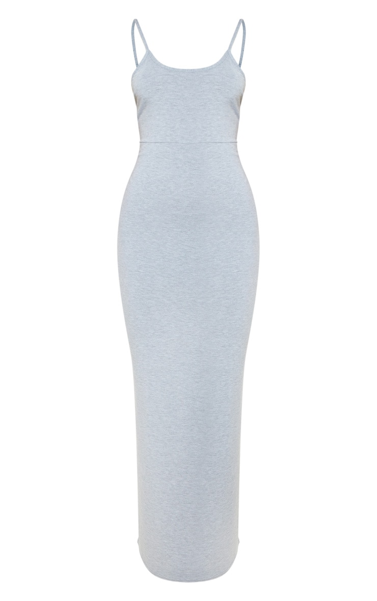 Grey Jersey Scoop Strappy Maxi Dress 3