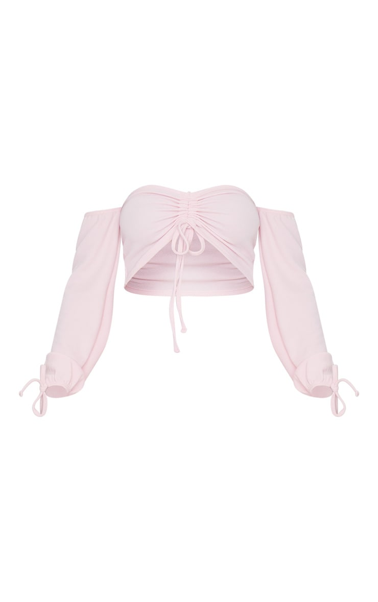 Baby Pink Ruched Detail Bardot Long Sleeve Crop Top 5