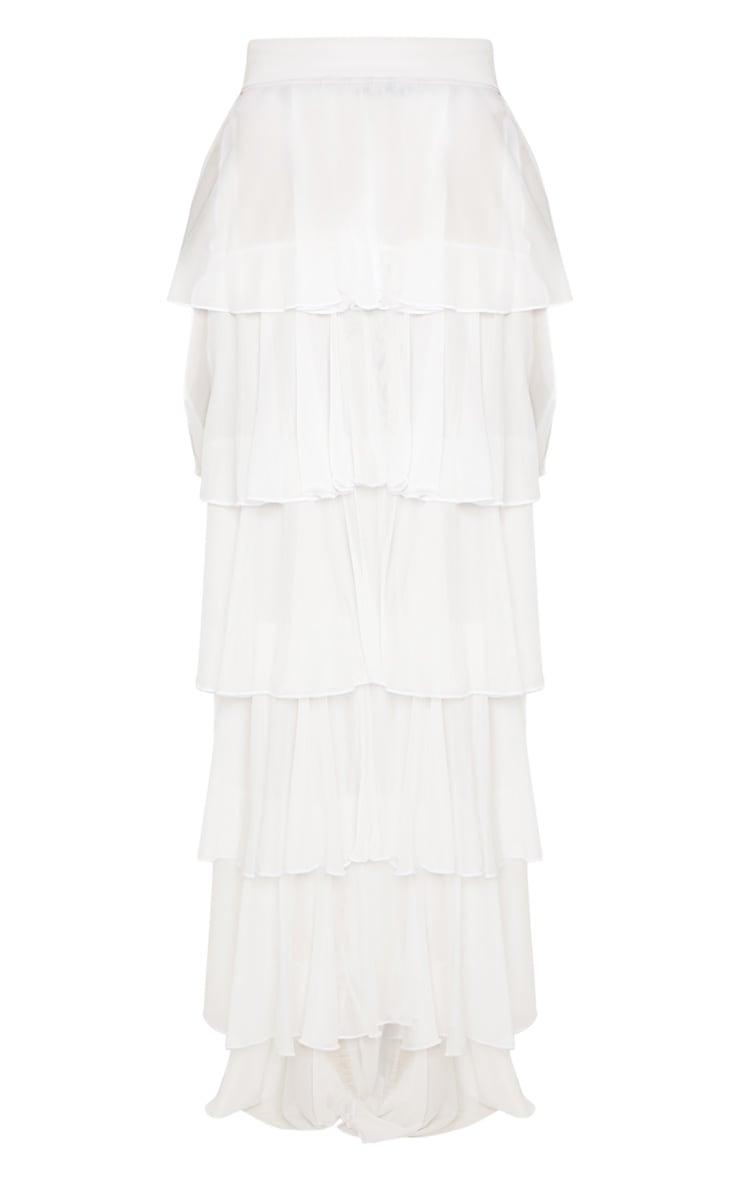 White Tiered Frill Beach Skirt 3