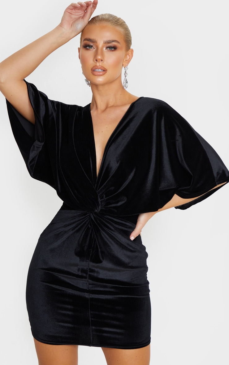 Black Velvet Twist Front Bodycon Dress