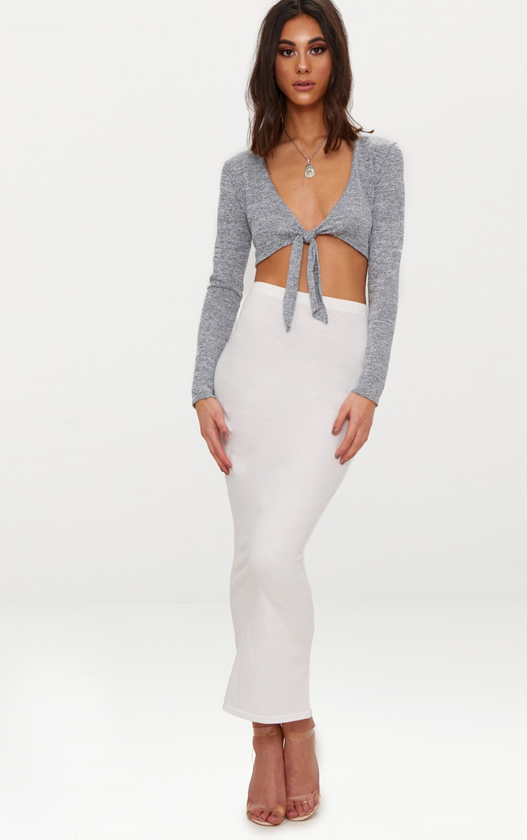 Grey Tie Front Knitted Top 4