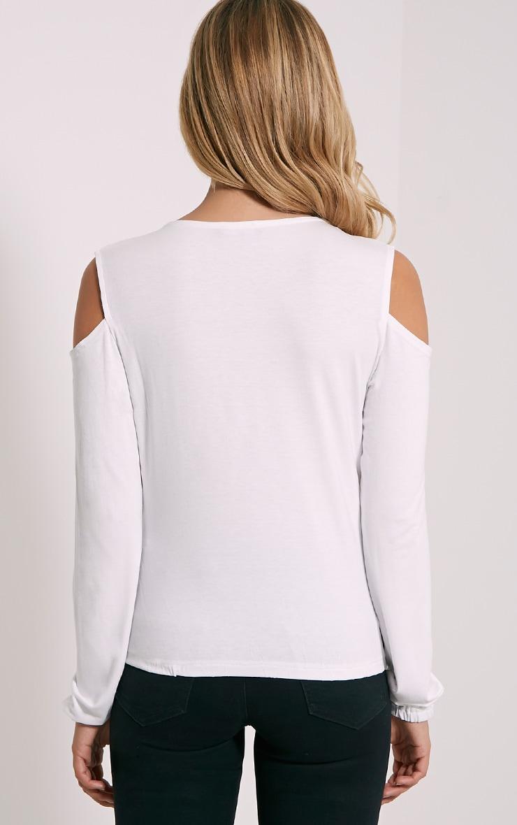 Tarny White Open Shoulder Wrap Top 2