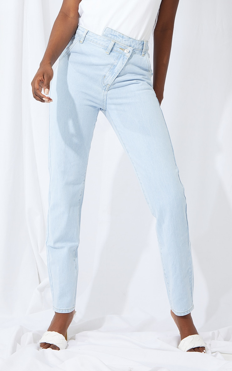 Tall Bleach Wash Asymmetric Waist Jeans 2
