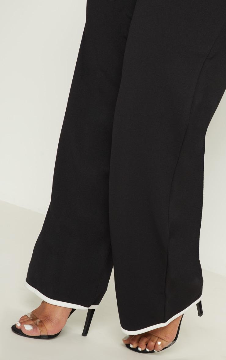 Plus Black Contrast Wide Leg Trousers 5