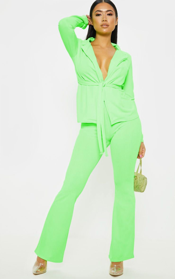 Petite Neon Lime Flare Pants  1