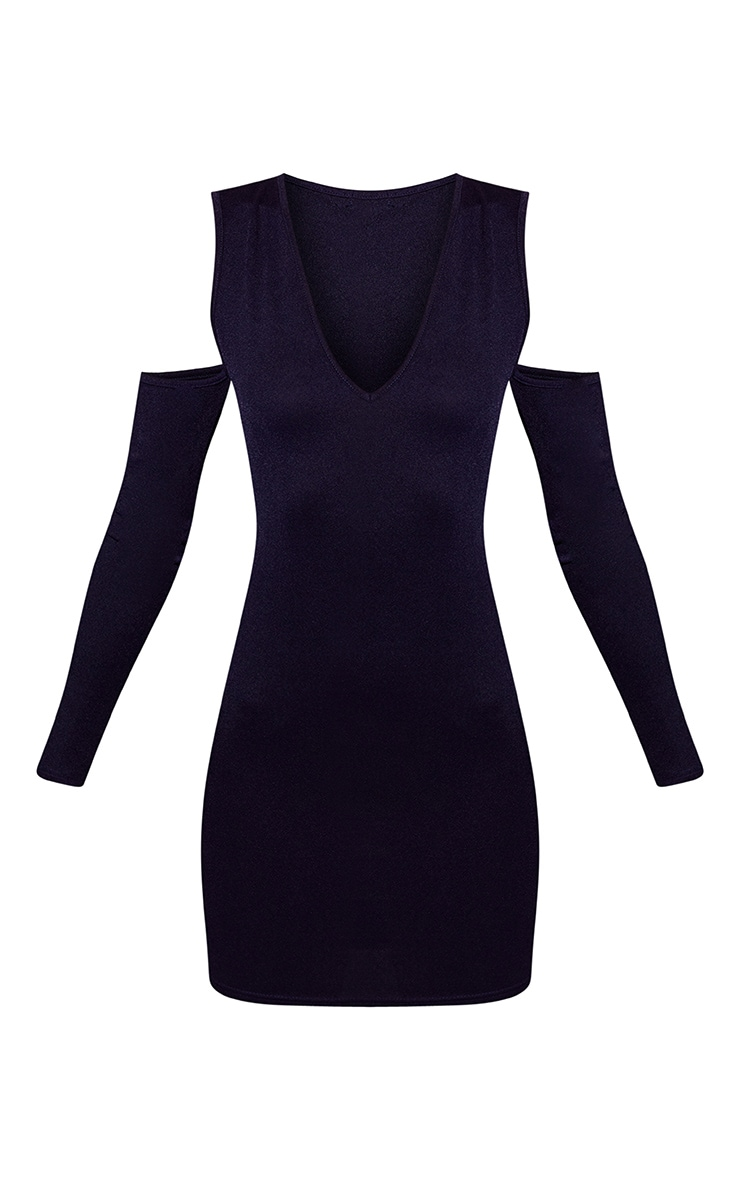 Navy Cold Shoulder Long Sleeve Plunge Bodycon Dress 3