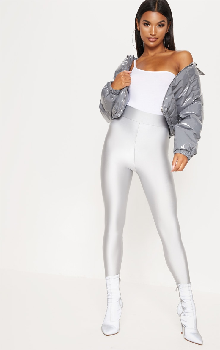 Silver Disco Highwaisted Leggings 1
