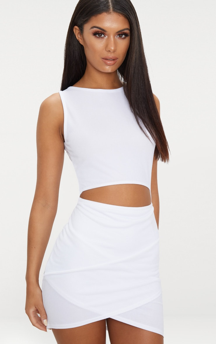 White Cut Out Detail Wrap Skirt Bodycon Dress 1
