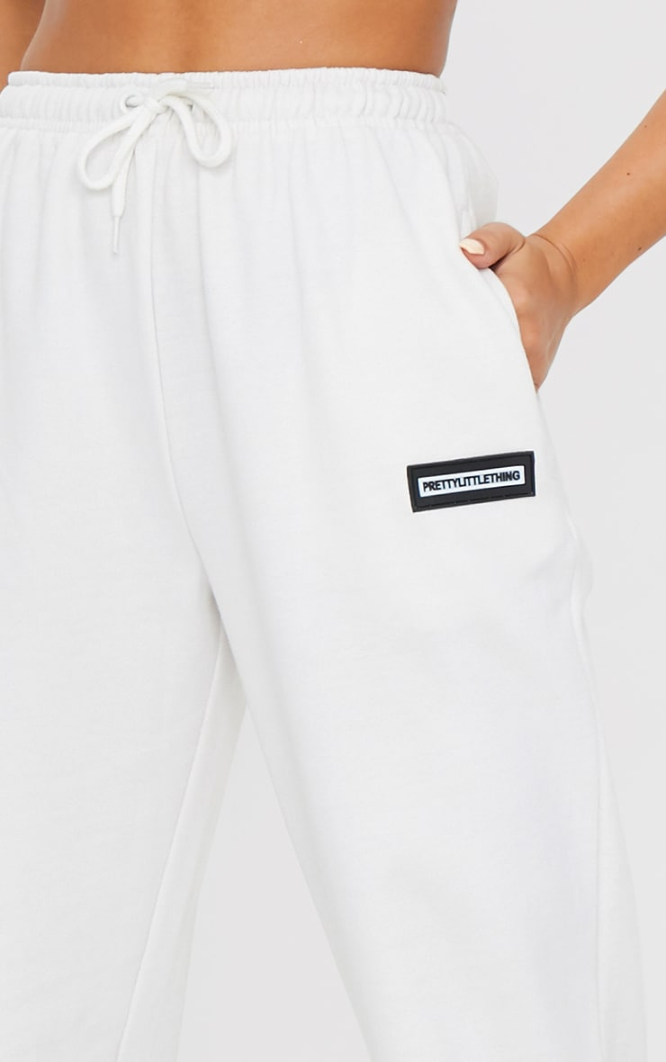 PRETTYLITTLETHING Ecru Badge Detail Casual Joggers 4