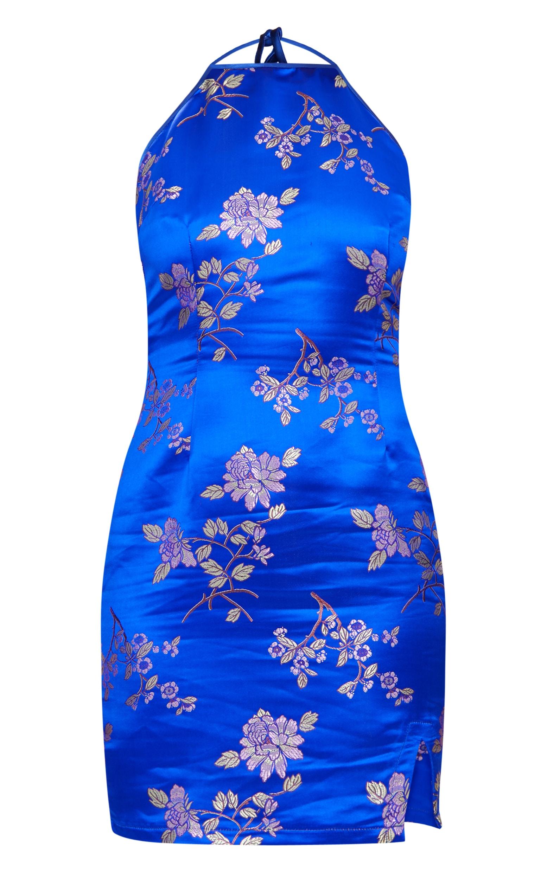 Cobalt Oriental Jacquard High Neck Strappy Back Bodycon Dress 3