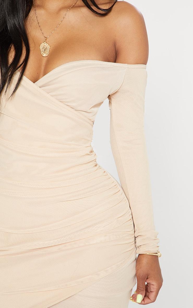 Shape Nude Mesh Ruched Bardot Bodycon Dress 5