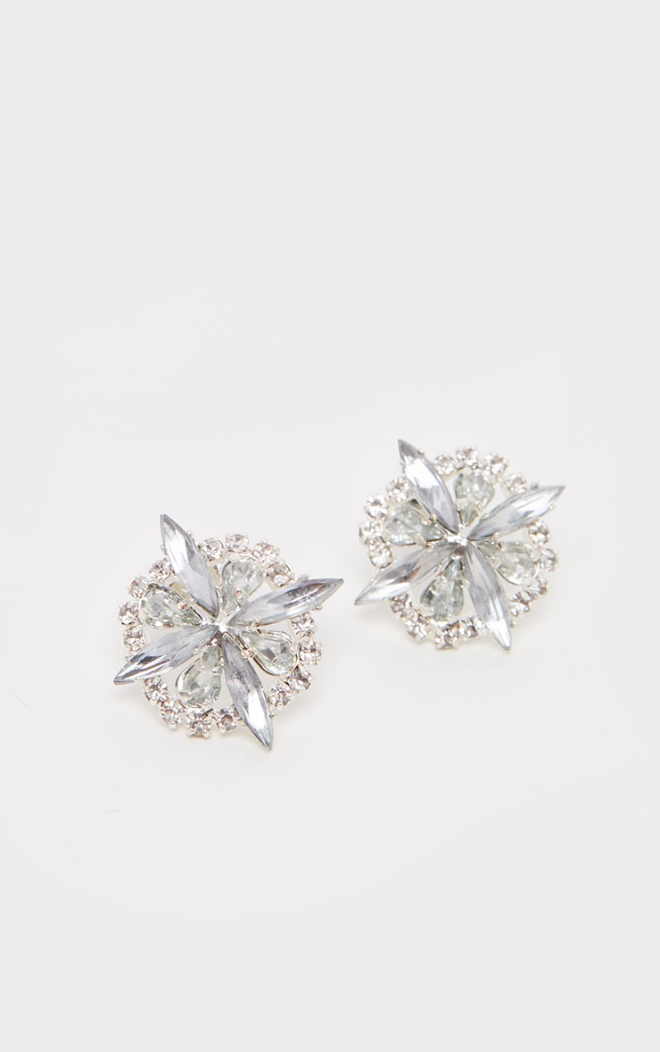 Silver Flower Diamante Stud Earrings 3