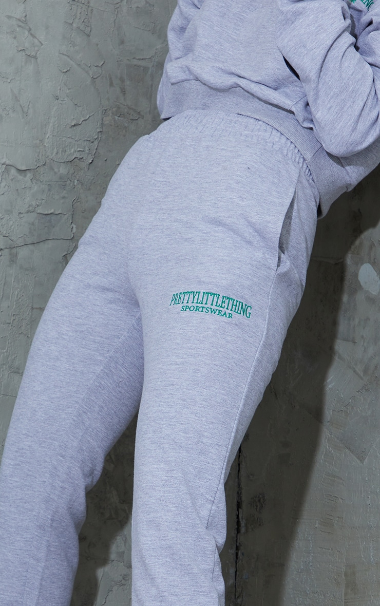 Grey Sports Embroidered Joggers 4