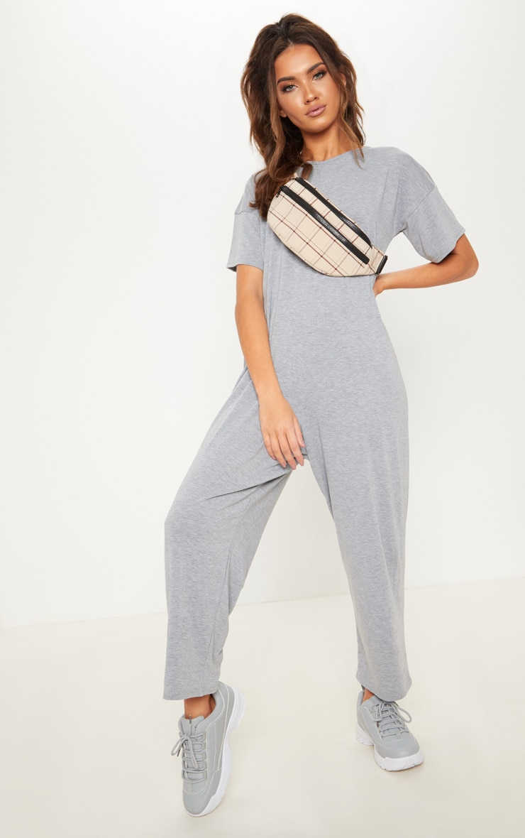 Grey Marl Oversized T Shirt Culotte Jumpsuit 2