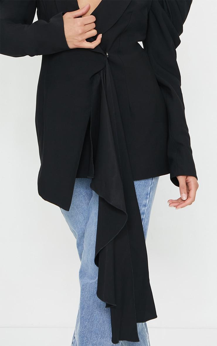 Black Woven Lapel Side Button Puff Sleeve Blazer 4