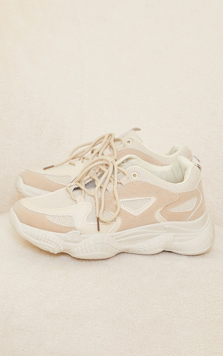 Sand Wide Fit Chunky Bubble Sole Panelled Up Trainers image 3