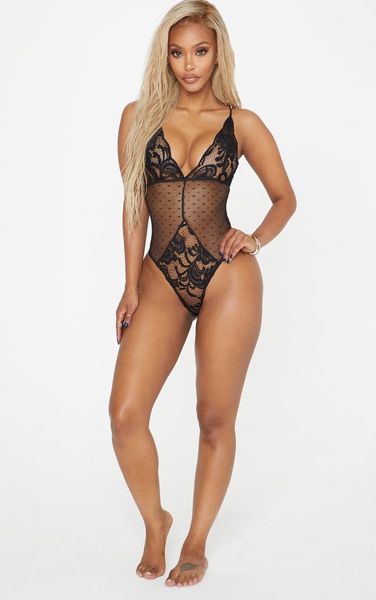 Shape Black Lace Dobby Mesh Bodysuit 5