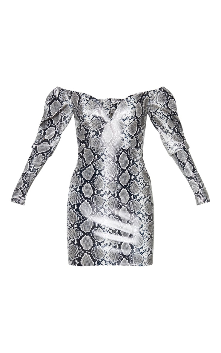 Tall Grey PU Snake Print Plunge Long Sleeve Mini Dress 4