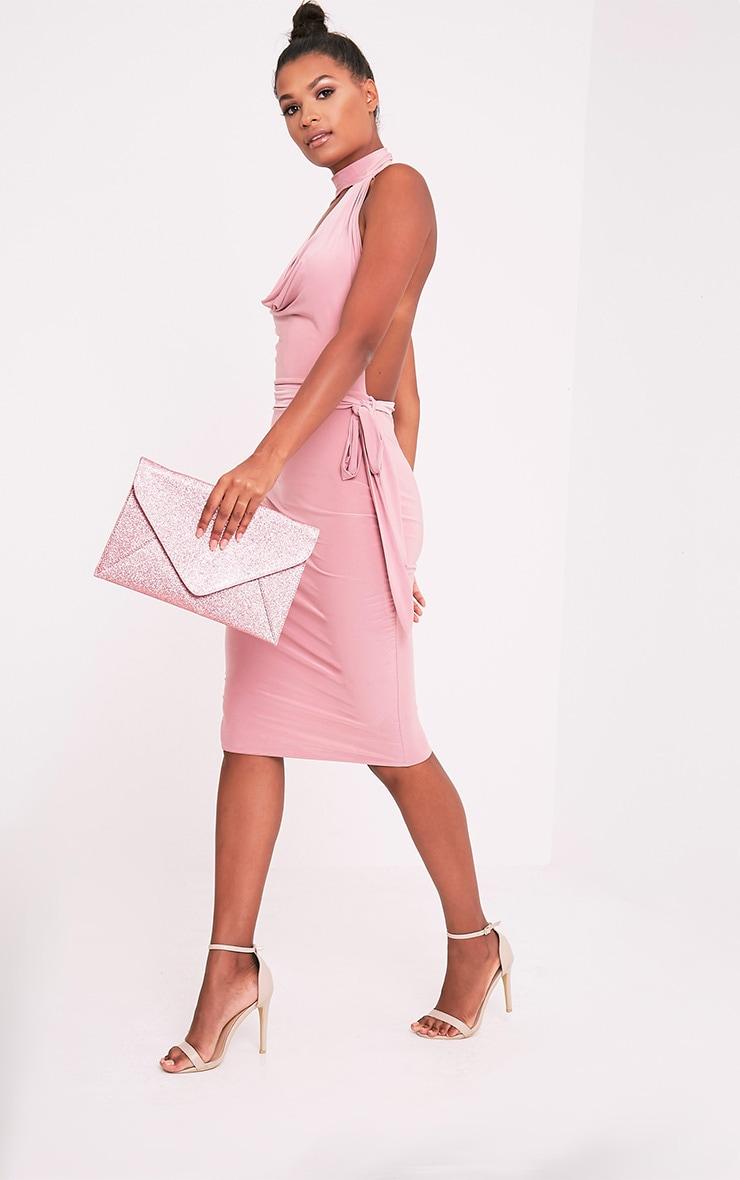 Paige Pink Glitter Clutch Bag 2