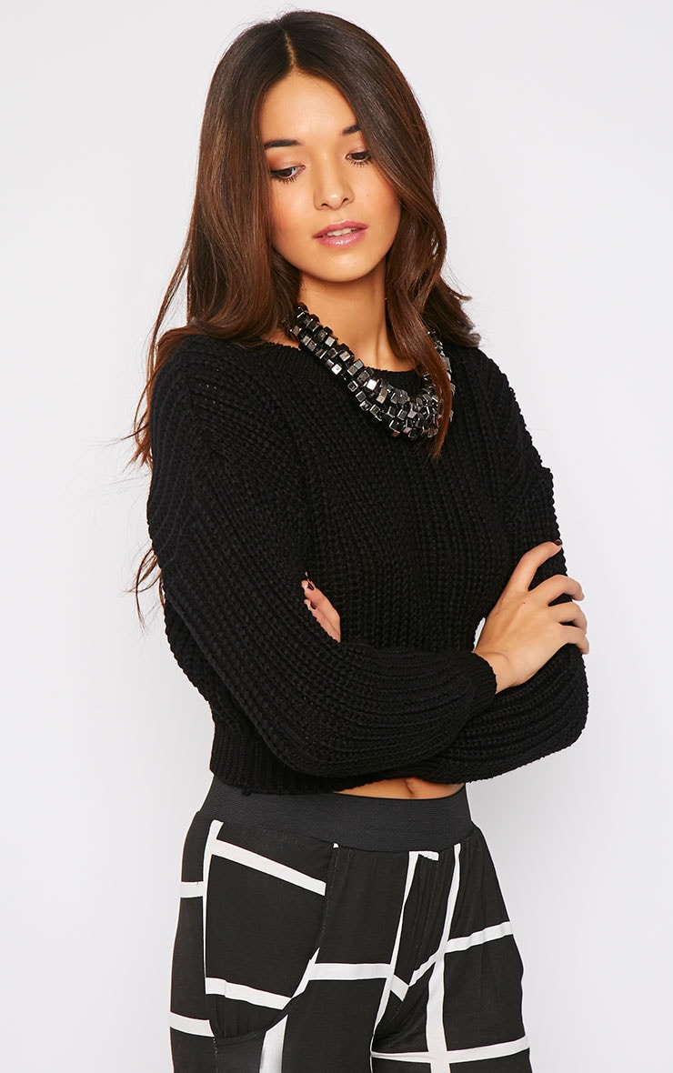Teri Black Round Neck Cropped Knit Sweater 3