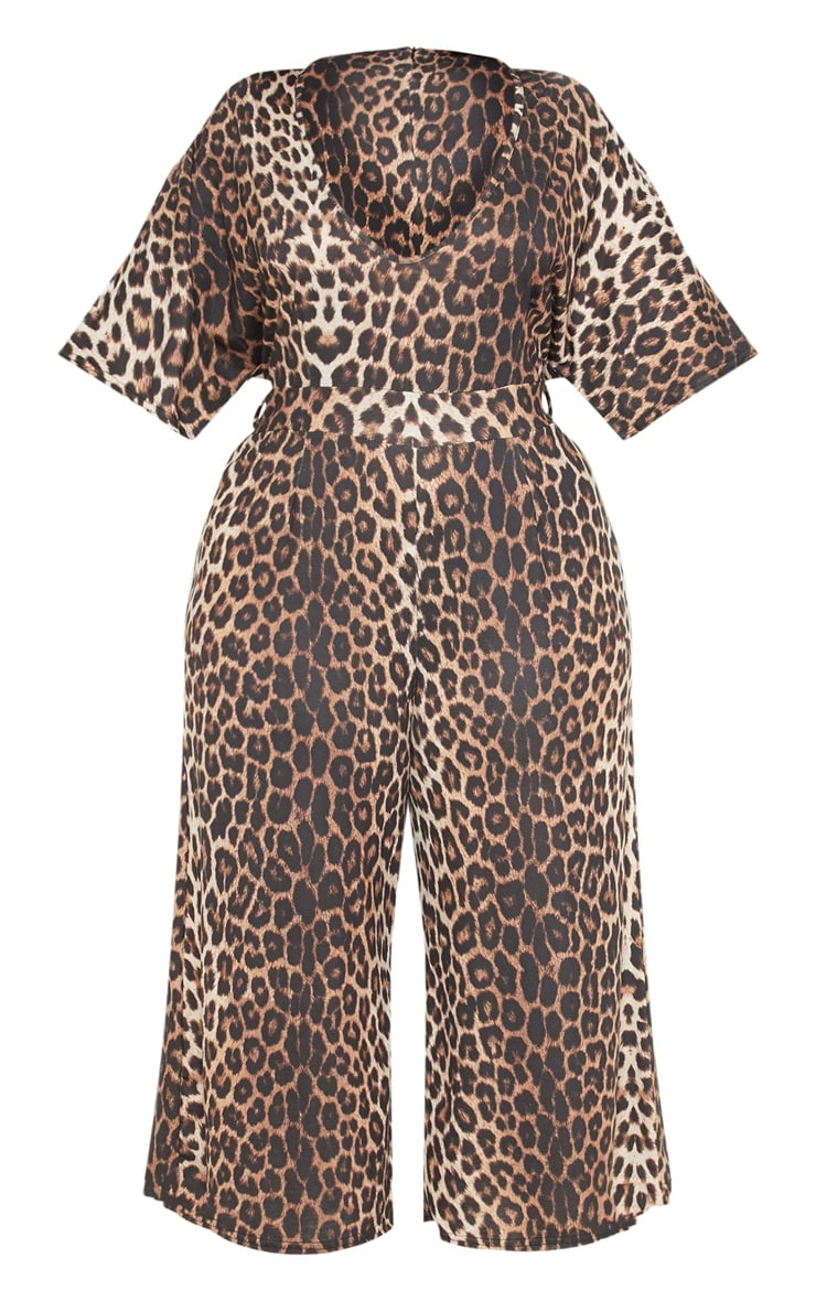 Plus Brown Leopard Print Culotte Jumpsuit 3