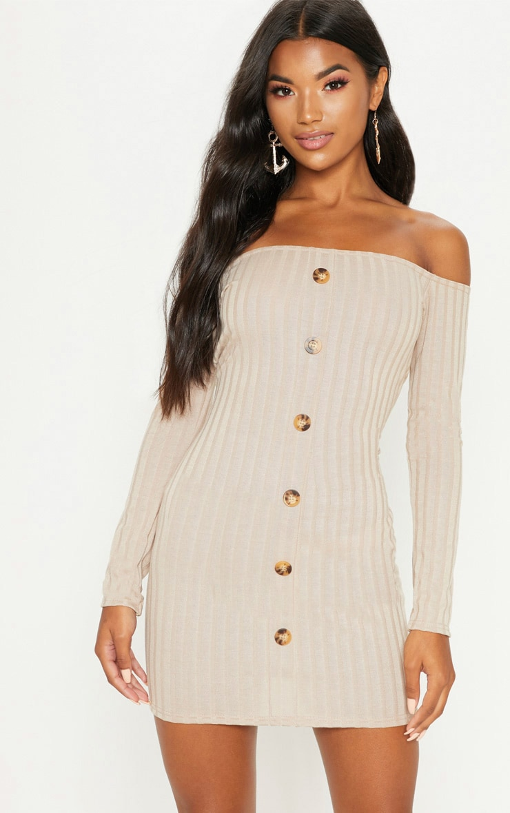 Stone Ribbed Button Detail Dress  1
