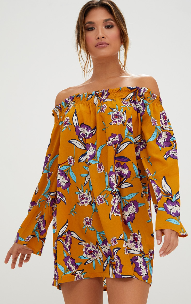 Mustard Floral Printed Bardot Dress 1