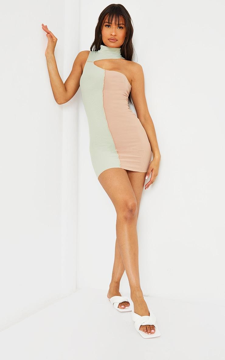 Sage Green Rib One Shoulder Contrast Panelling Overlocked Midaxi Dress 3
