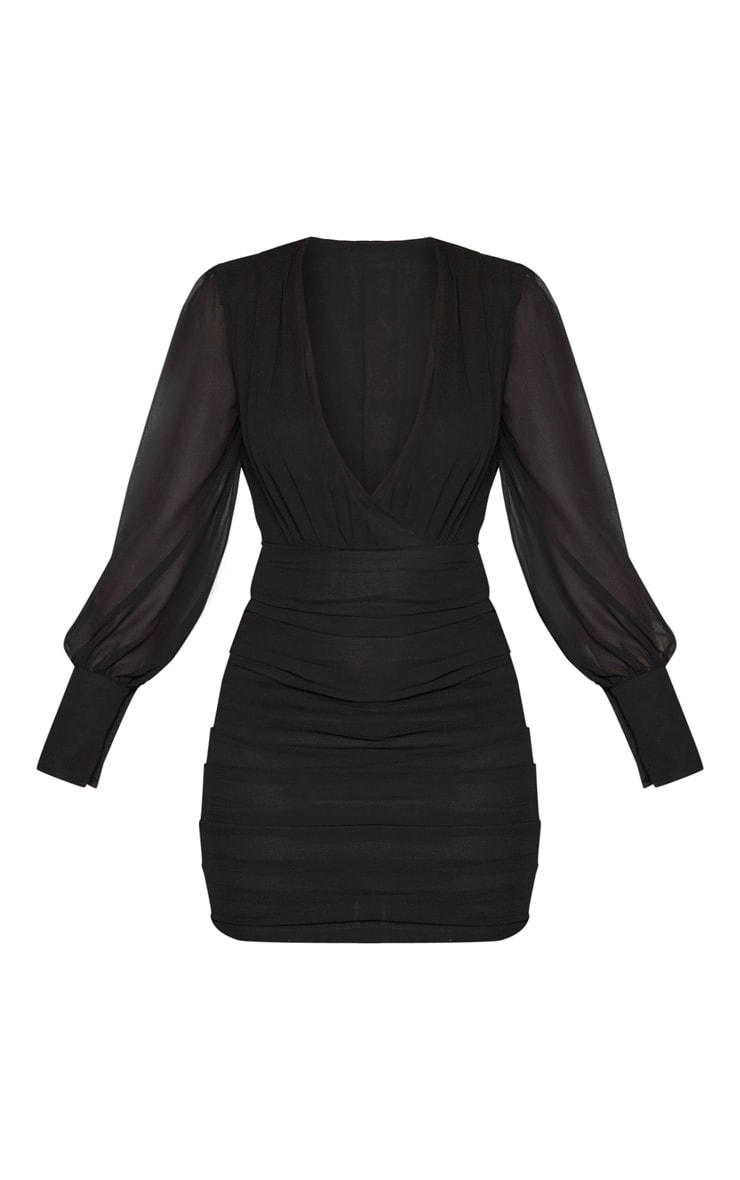 Black Long Sleeve Chiffon Ruched Bodycon Dress 3