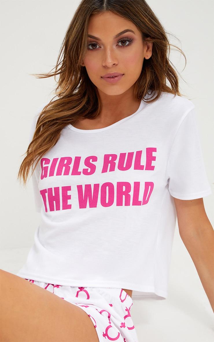 Hot Pink Girls Rule The World PJ Set  1